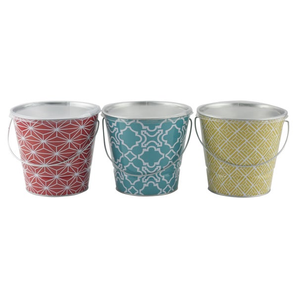 Shanghai Daisy 21092GEO 16-Ounce Citronella Candle With Geo Pattern Bucket Assorted