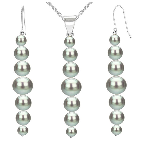 DaVonna 14K White Gold 5-8.5mm Grey Graduated Freshwater Cultured Pearl Pendant & Earrings Jewelry Set 18""