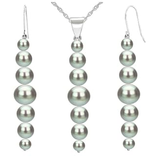 """DaVonna 14K White Gold 5-8.5mm Grey Graduated Freshwater Cultured Pearl Pendant & Earrings Jewelry Set 18"""""""