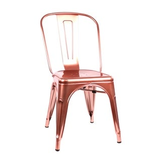 Amalfi Chrome Rose Gold Steel Side Chair (Set of 4)