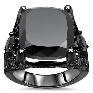 Noori 14k Black Gold 13 3/4ct TDW Black Diamond Engagement Ring