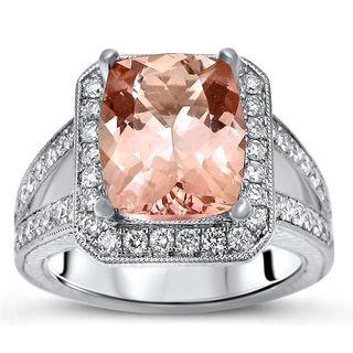 Noori 14k White Gold Morganite 3/4ct TDW Diamond Engagement Ring (F-G, SI1-SI2)