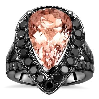 Noori 14k Black Gold Morganite and 1 1/2ct TDW Black Diamond Engagement Ring