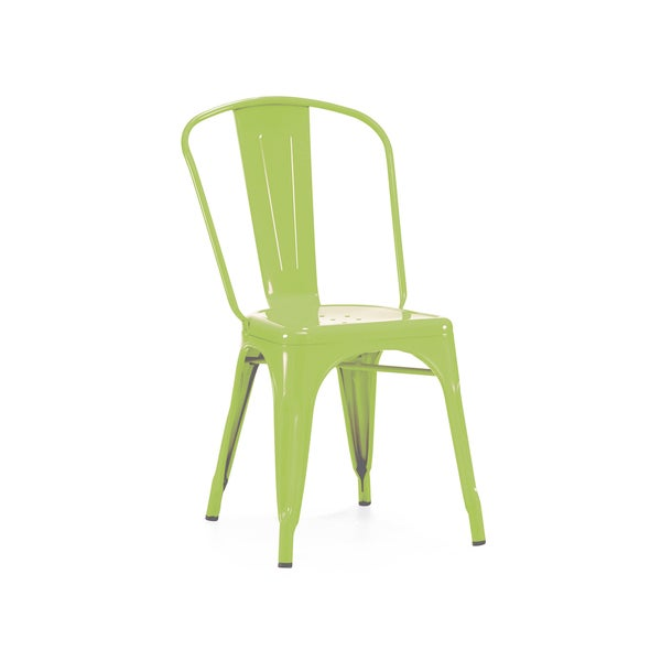 Dreux Stackable Glossy Green Apple Steel Side Chair (Set of 4)