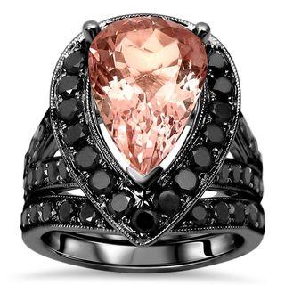 Noori 14k Black Gold 5 4/5ct TGW Pear-cut Morganite and Black Diamond Bridal Set