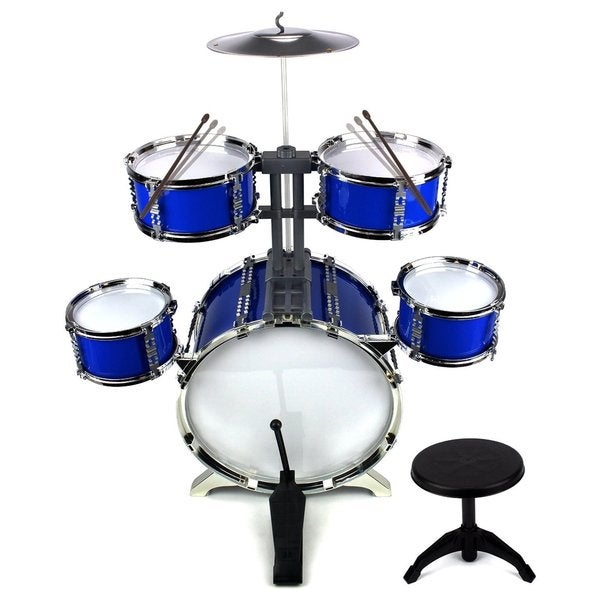 Velocity Toys Supreme Rhythm Jazz Big Size Kid's Musical Instrument Blue Toy Drum