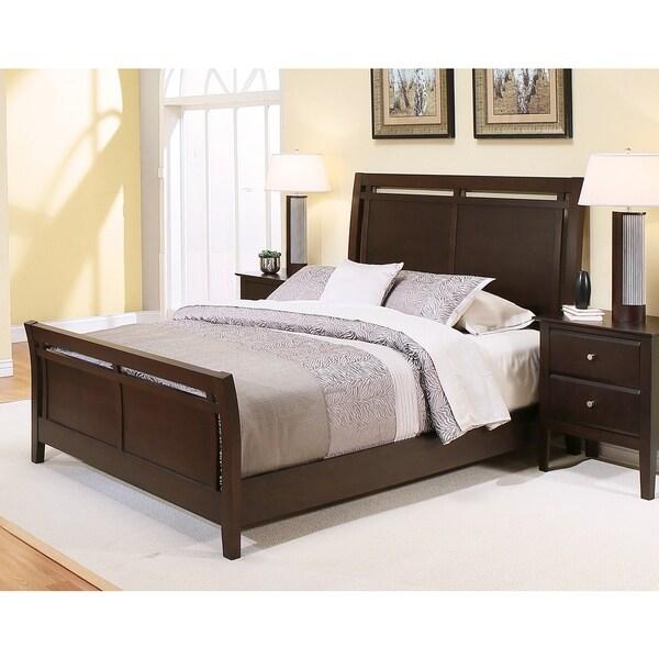 ABBYSON LIVING Marsala Espresso Wood Sleigh Bed