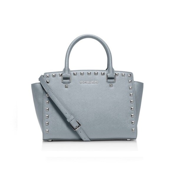 Michael Kors Selma Stud Medium Top Zip Satchel - Dusty Blue
