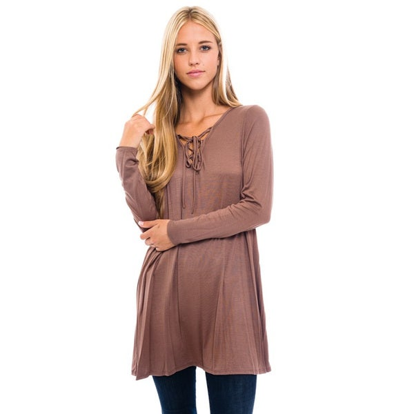 Women's Rayon Mocha Lace-up Neck Top