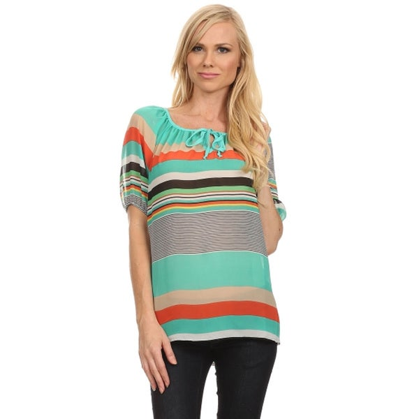 Women's Striped Puff-sleeve Top