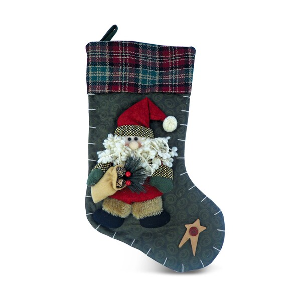 Country Santa Multicolored Christmas Stocking