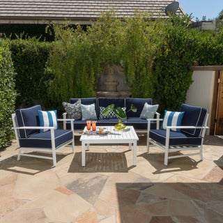 Christopher Knight Home Samana Outdoor 4-piece Aluminum Sofa Set with Cushions