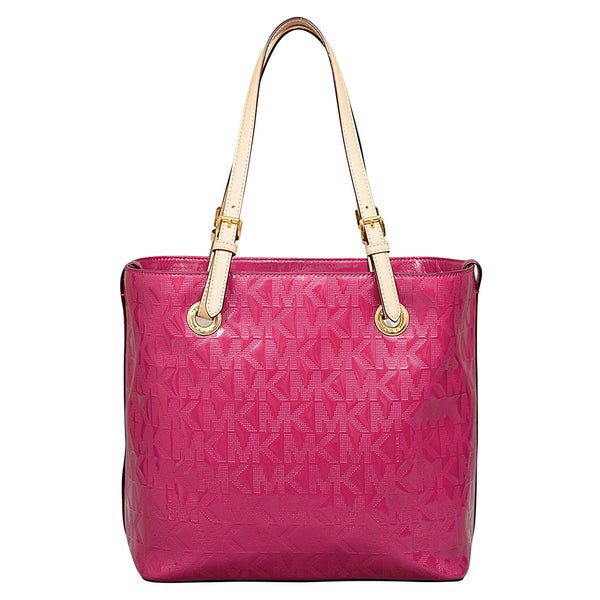 Michael Kors Signature Deep Pink Leather Grab Bag