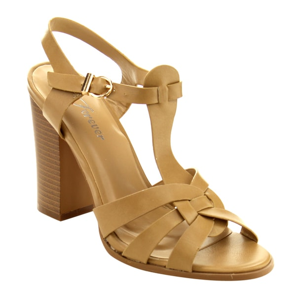 Forever Women's GD49 Tan T-Strap Stacked Heel Casual Sandals