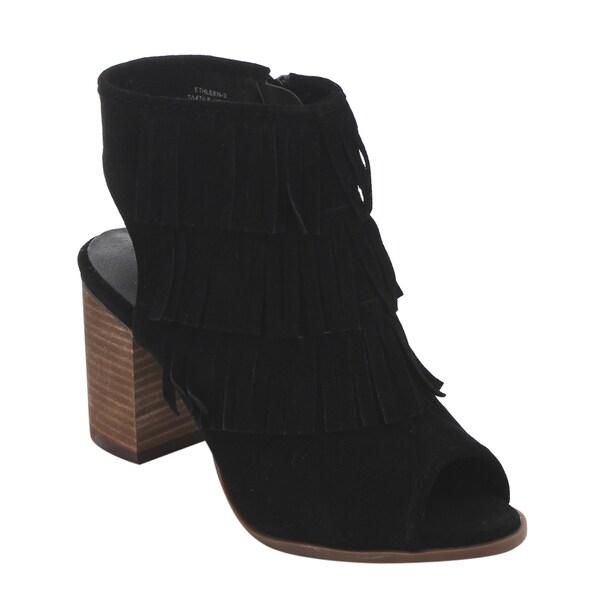 DE Blossom Collection GD66 Women's Tassel Fringe Back Cutouts Ankle Booties
