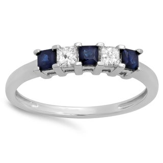 10k White Gold 1/2ct TW Princess-cut Blue Sapphire and White Diamond 5-stone Bridal Wedding Anniversary Ring (H-I)
