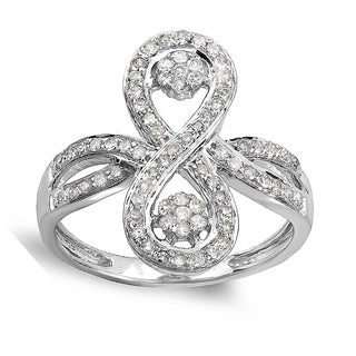 14k White Gold 1/2ct TDW Diamond Flower Cocktail Right-hand Ring (H-I, I1-I2)