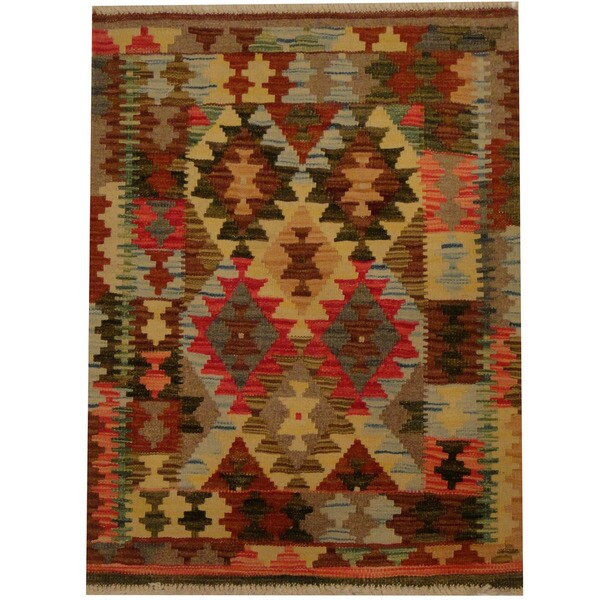 Herat Oriental Afghan Hand-woven Vegetable Dye Wool Kilim (2'1 x 2'9) 19995375