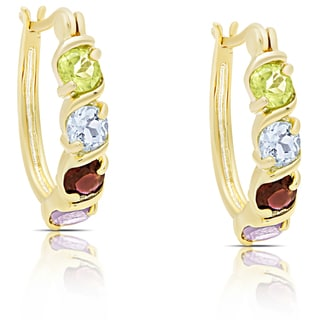 Dolce Giavonna Gold Over Sterling Silver Multi Gemstone Hoop Earrings