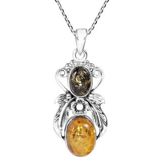 Amber Angel Vine Adorned .925 Silver Necklace (Thailand)