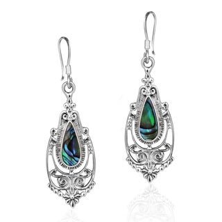 Victorian Teardrop Stone Inlay .925 Silver Dangle Earrings (Thailand)