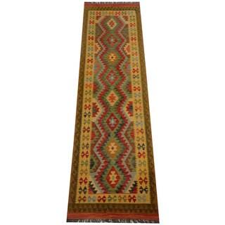 Herat Oriental Afghan Hand-woven Vegetable Dye Wool Kilim Runner (2'9 x 9'11)
