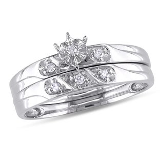 Miadora 10k White Gold Diamond Accent 2-Piece Bridal Set (G-H, I2-I3)