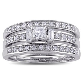 Miadora Signature Collection 14k White Gold 3/5ct TDW Princess and Baguette-cut Diamond 3-stone Bridal Ring Set (G-H, I2-I3)