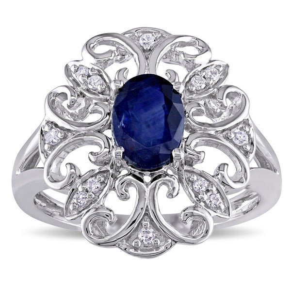 Miadora 14k White Gold Sapphire and Diamond Accent Oval Filigree Flower Ring (G-H, I1-I2)