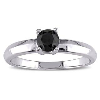 Miadora 14k White Gold 1/3ct TDW Black Diamond Solitaire Engagement Ring