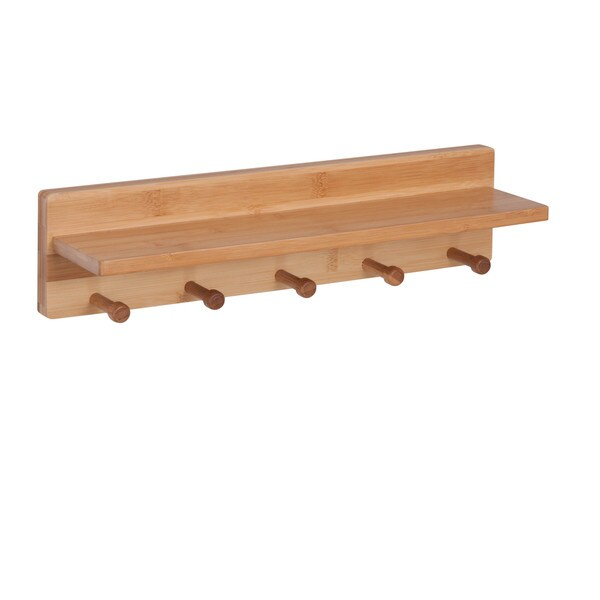 Bamboo Wall Shelf with 5 pegs