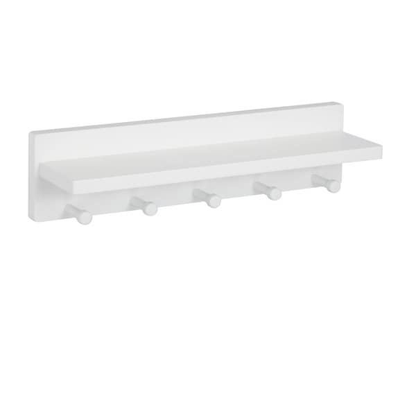 White wall shelf with 5 pegs