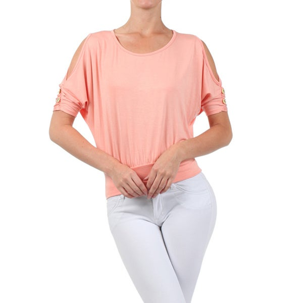 Women's Peach Polyester Cutout Top