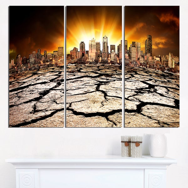 City with Effect of Climate Change - Extra Large Wall Art Landscape