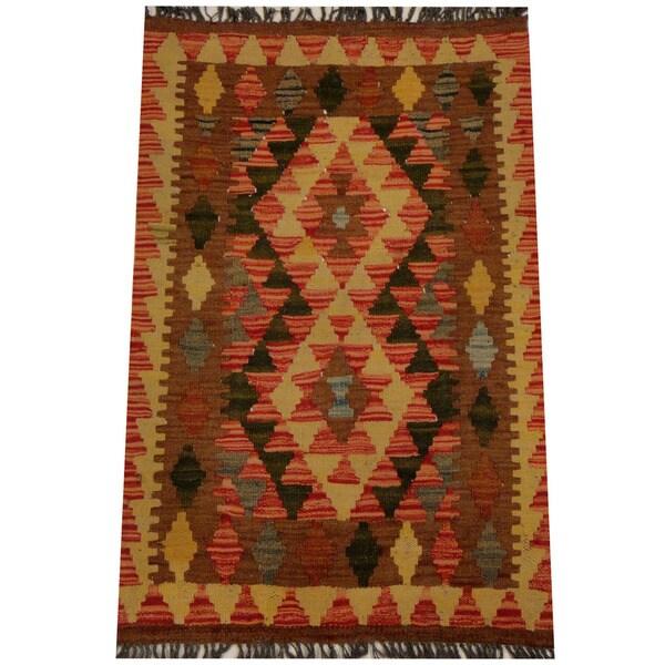 Herat Oriental Afghan Hand-woven Vegetable Dye Wool Kilim (2'1 x 3'2) - 2'1 x 3'2 20000740