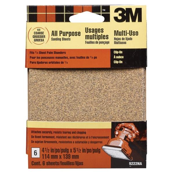 3M 9222ES Coarse Palm Sander Sandpaper Sheets Clip-On