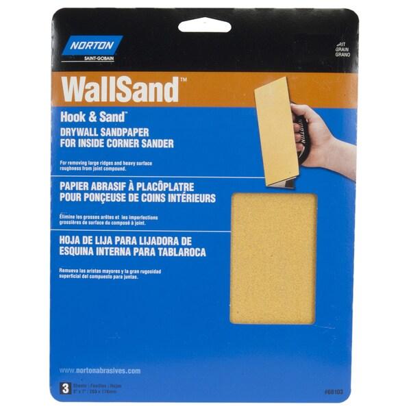 "Norton 68102 8"" X 7"" 150 Grit WallSand Corner Sandpaper 3-count"