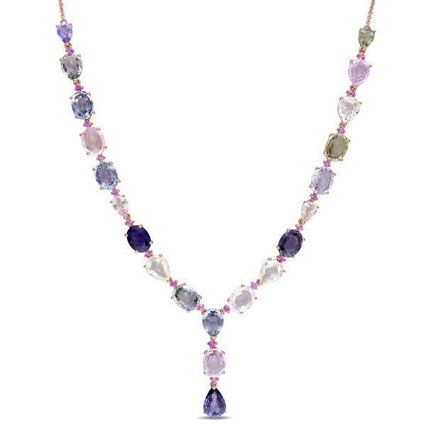 Miadora Signature Collection 14k Rose Gold Multi-Color Sapphire Oval Teardrop Lariat Necklace