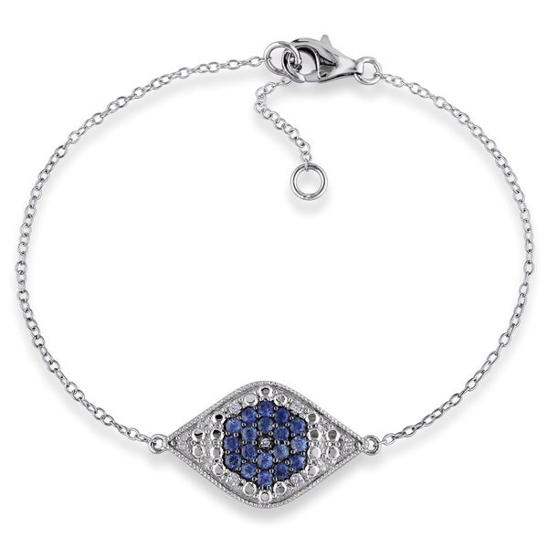 Miadora Sterling Silver Sapphire and Diamond Accent Evil Eye Bracelet