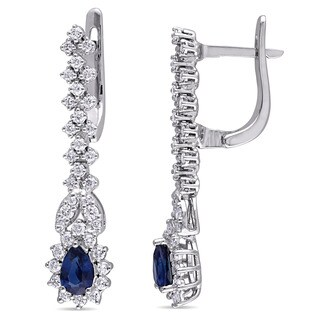 Miadora Signature Collection 18k White Gold Pear Shaped Sapphire 4/5ct TDW Diamond Vintage Dangle Earrings (G-H, SI1-SI2)