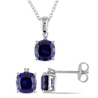 Miadora Sterling Silver Created Blue Sapphire and Diamond Accent Stud Earrings and Necklace Set (G-H, I2-I3)