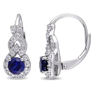 Miadora Sterling Silver Created White and Blue Sapphire Crossover Leverback Earrings
