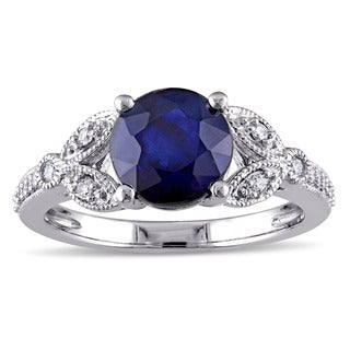 Miadora 10k White Gold Sapphire and 1/6ct TDW Diamond Vintage Floral Engagement Ring (G-H, I2-I3)