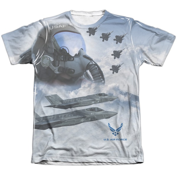 Air Force/Pilot (Front/Back Print) Adult Poly/Cotton Short Sleeve Tee in Sublimate White 20004425