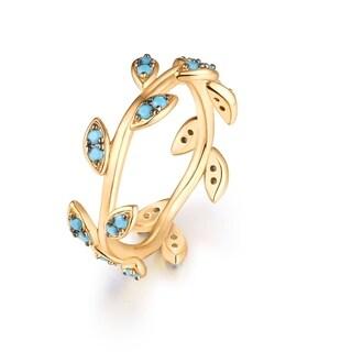 18k Gold-plated Genuine Turquoise Leaf-design Ring