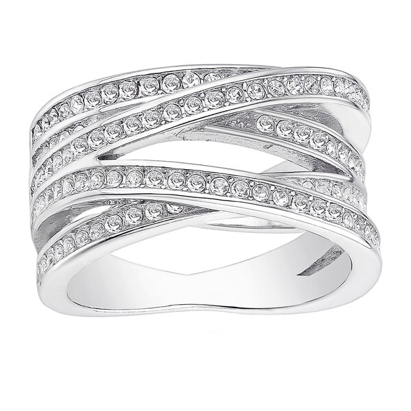18k White Goldplated CZ Stone Orbit Ring