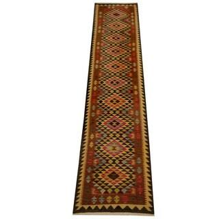 Herat Oriental Afghan Hand-woven Vegetable Dye Wool Kilim Runner (2'11 x 12'9)