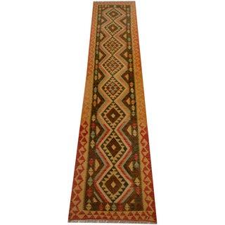 Herat Oriental Afghan Hand-woven Vegetable Dye Wool Kilim Runner (2'1 x 13')