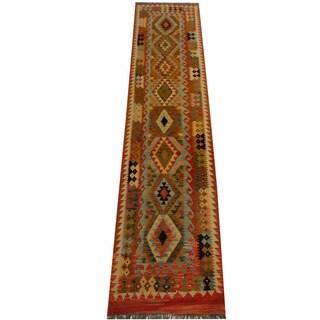 Herat Oriental Afghan Hand-woven Vegetable Dye Wool Kilim Runner (2'11 x 12'1)