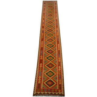 Herat Oriental Afghan Hand-woven Vegetable Dye Wool Kilim Runner (2'10 x 15'11)